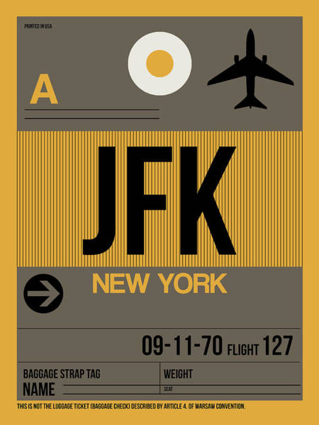 York Digital Art - New York Luggage Tag Poster 3 by Naxart Studio