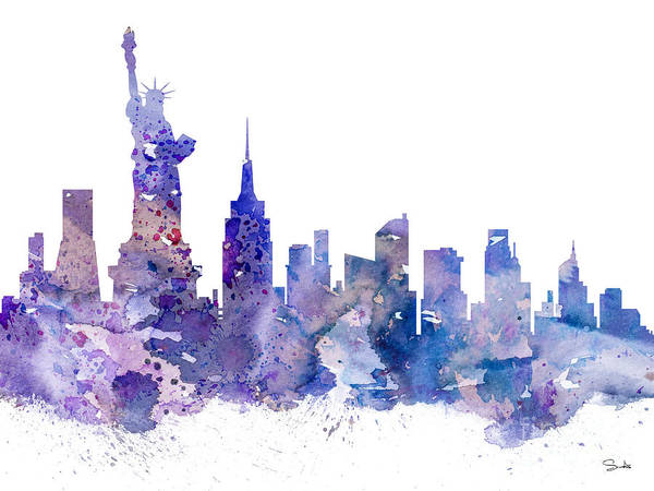 Nyc Wall Art - Painting - New York by Watercolor Girl