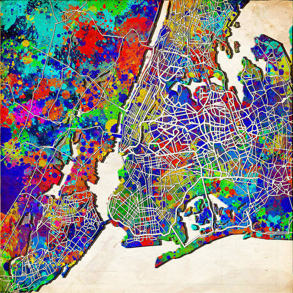 Wall Art - Painting - New York Map Abstract 2 by Bekim M