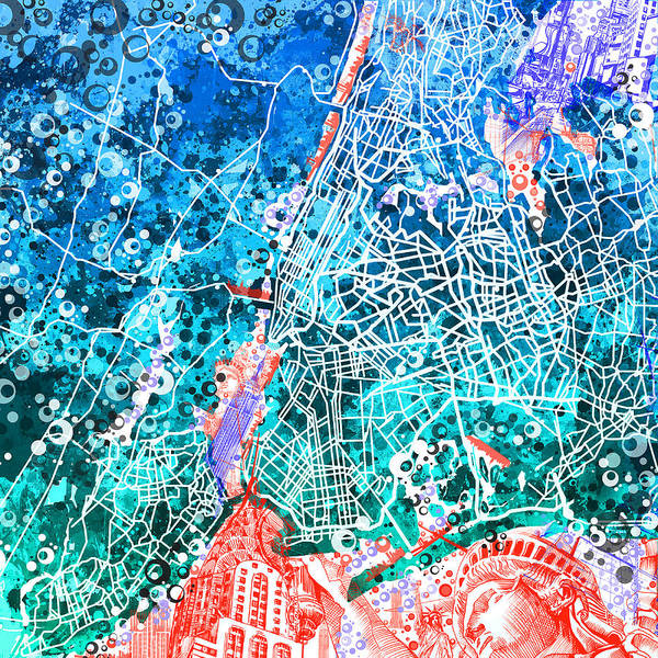 Wall Art - Painting - New York Map Abstract by Bekim M