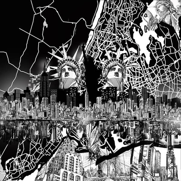 New York Map Digital Art - New York Map Black And White 2 by Bekim M