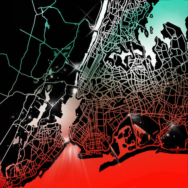 Wall Art - Painting - New York Map Gradient by Bekim M