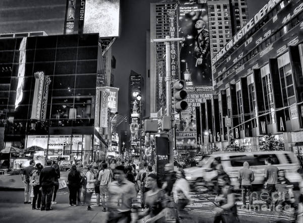 Photograph - New York Minute In Black And White by Jeff Breiman