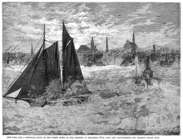 Manhattan Skyline Painting - New York North River by Granger