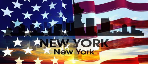 Mixed Media - New York Ny Patriotic Large Cityscape by Angelina Tamez
