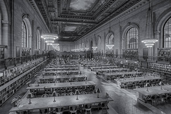 Photograph - New York Public Library Rose Room Bw by Susan Candelario