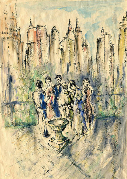 Drawing - New York Roof Party 79 - Watercolor Ink Drawing by Peter Potter