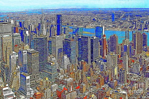 The Empire State Building Digital Art - New York Skyline 20130430v3 by Wingsdomain Art and Photography