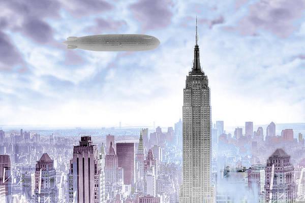 Photograph - New York Skyline And Blimp by Tony Rubino