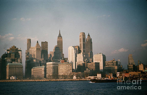 Photograph - New York Skyline As Seen From The Circle Line Ferry Manhattan New York Circa 1960 by California Views Archives Mr Pat Hathaway Archives