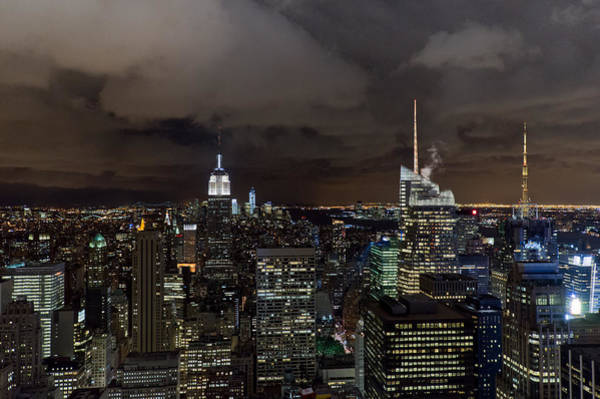 Photograph - New York Skyline At Night by Gary Eason