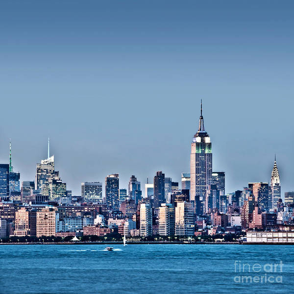 Blue Hour Photograph - New York Skyline by Delphimages Photo Creations