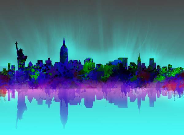 Nyc Skyline Painting - New York Skyline Gradient by Bekim M