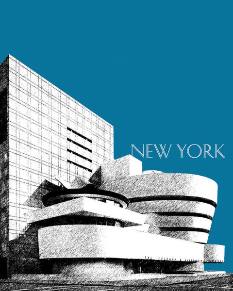 Museum Digital Art - New York Skyline Guggenheim Art Museum - Steel Blue by DB Artist