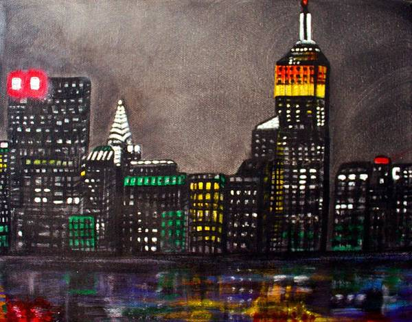 Manhattan Skyline Painting - New York Skyline by Laura Barbosa
