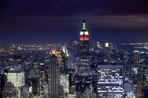 New York Skyline Night Color Art Print
