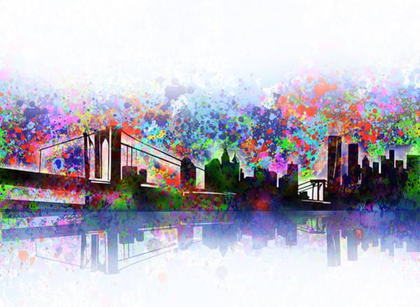 Nyc Skyline Painting - New York Skyline Splats 2 by Bekim M
