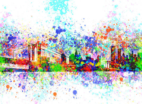 Nyc Skyline Painting - New York Skyline Splats by Bekim M