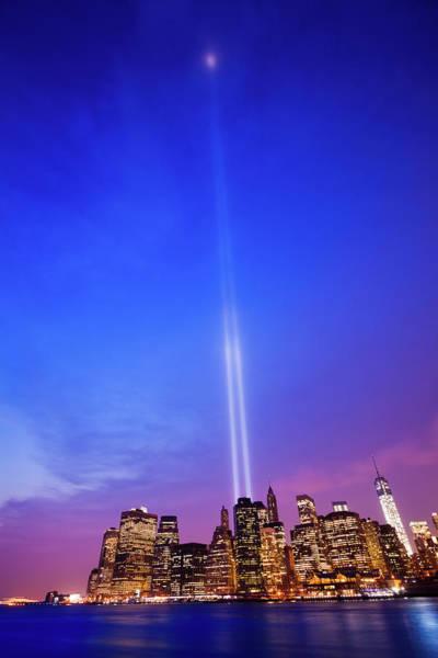 September 11 Attacks Photograph - New York Skyline With 11 September by Zodebala