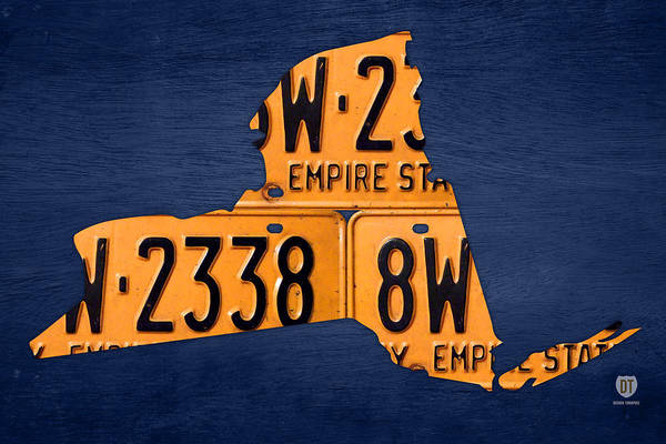 News Mixed Media - New York State License Plate Map by Design Turnpike