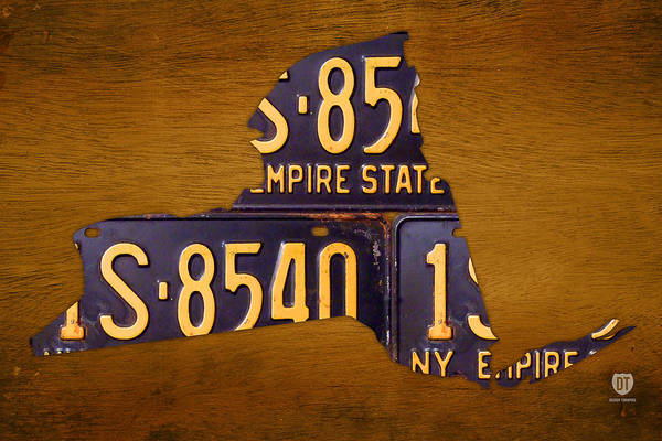 Handmade Wall Art - Mixed Media - New York State License Plate Map - Empire State Orange Edition by Design Turnpike