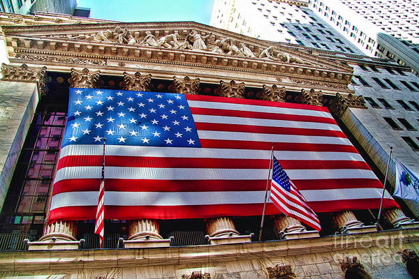 Old Glory Photograph - New York Stock Exchange With Us Flag by David Smith