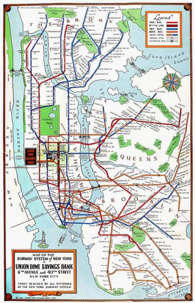 Photograph - New York: Subway Map, 1940 by Granger