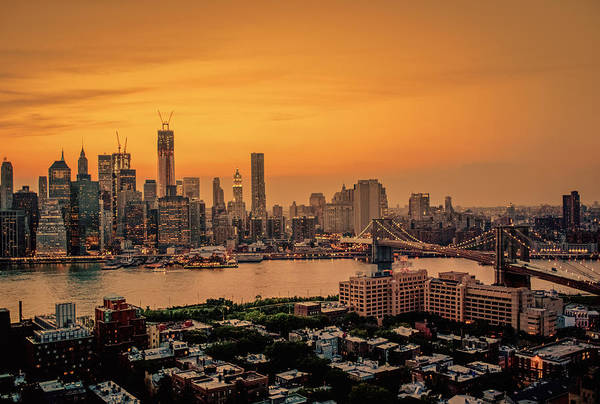 Roof Top Photograph - New York Sunset - Skylines Of Manhattan And Brooklyn by Vivienne Gucwa
