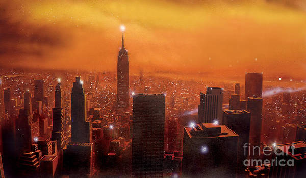Empire State Building Digital Art - New York Sunset by MGL Meiklejohn Graphics Licensing