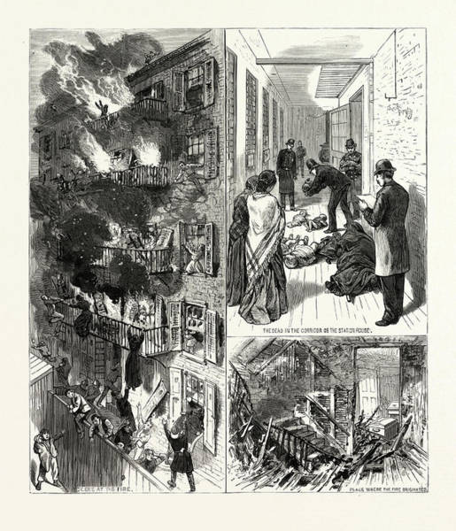 Wall Art - Drawing - New York The Fatal Fire In The Rear Tenement Of No by American School