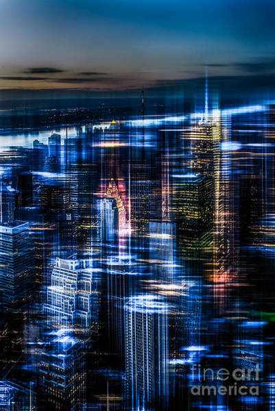 Photograph - New York - The Night Awakes - Blue I by Hannes Cmarits