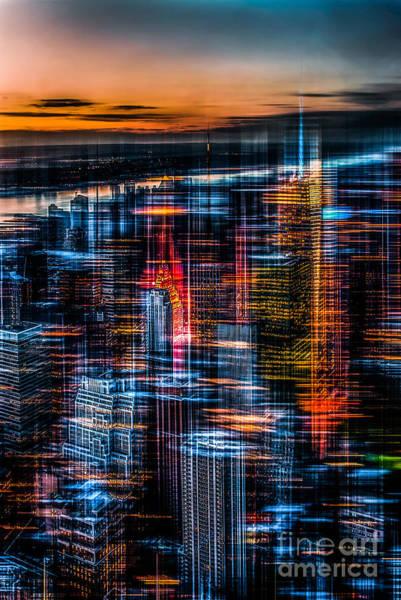 New York- The Night Awakes - Orange Art Print