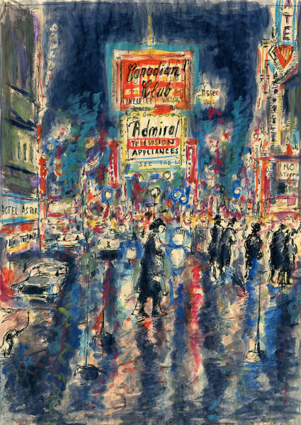 Painting - New York Times Square 79 - Watercolor Art Painting by Peter Potter