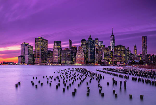 Modern Architecture Photograph - New York Violet Sunset by J.g. Damlow