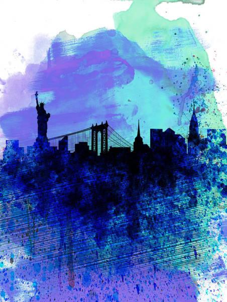 New York Skyline Wall Art - Painting - New York  Watercolor Skyline 2 by Naxart Studio