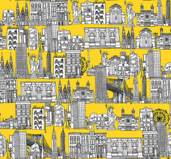 Wall Art - Drawing - New York Yellow by MGL Meiklejohn Graphics Licensing