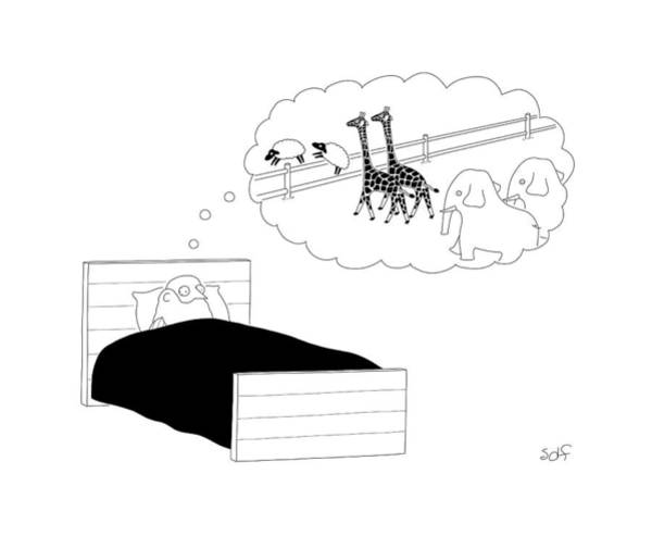 Noahs Ark Wall Art - Drawing - Noah In Bed by Seth Fleishman