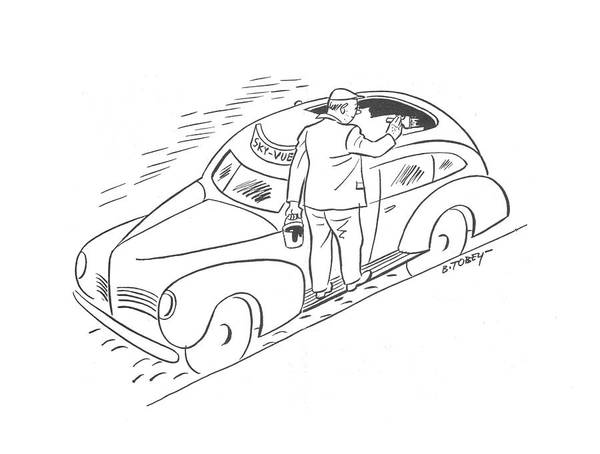 Shaded Drawing - New Yorker April 11th, 1942 by Barney Tobey