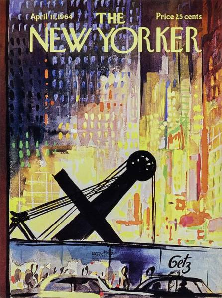 Night Painting - New Yorker April 11th 1964 by Arthur Getz