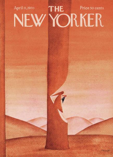 Woodpecker Painting - New Yorker April 11th, 1970 by Jean-Michel Folon
