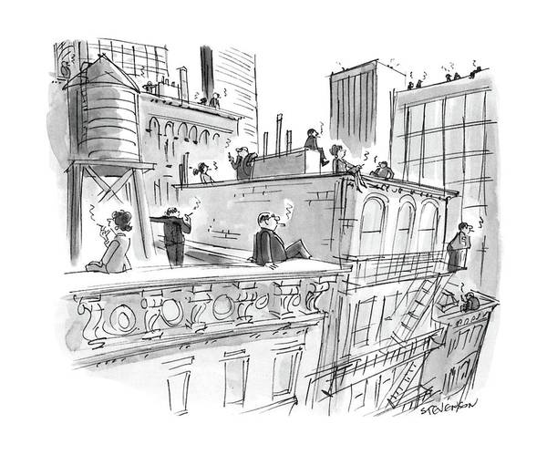 No Smoking Wall Art - Drawing - New Yorker April 11th, 1988 by James Stevenson