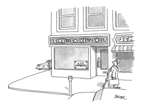Storefront Drawing - New Yorker April 12th, 1993 by Jack Ziegler