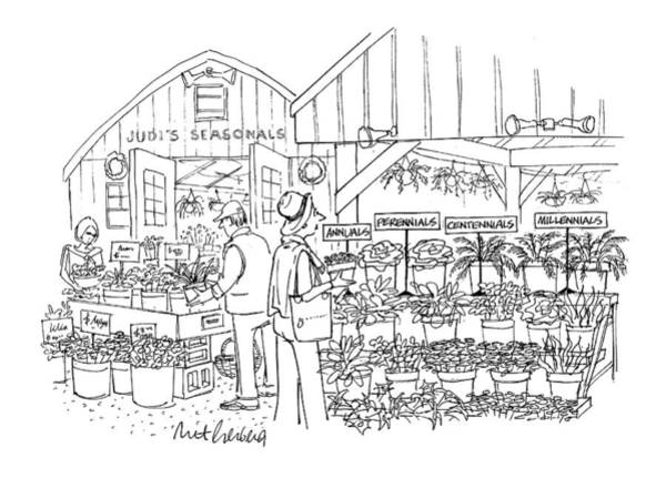 Shopping Drawing - New Yorker April 12th, 1999 by Mort Gerberg
