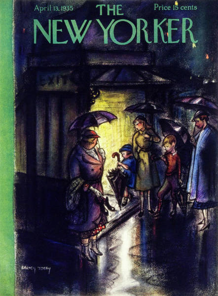 City At Night Painting - New Yorker April 13 1935 by Barney Tobey