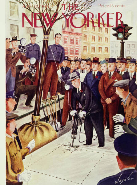 City Scene Painting - New Yorker April 13 1940 by Constantin Alajalov