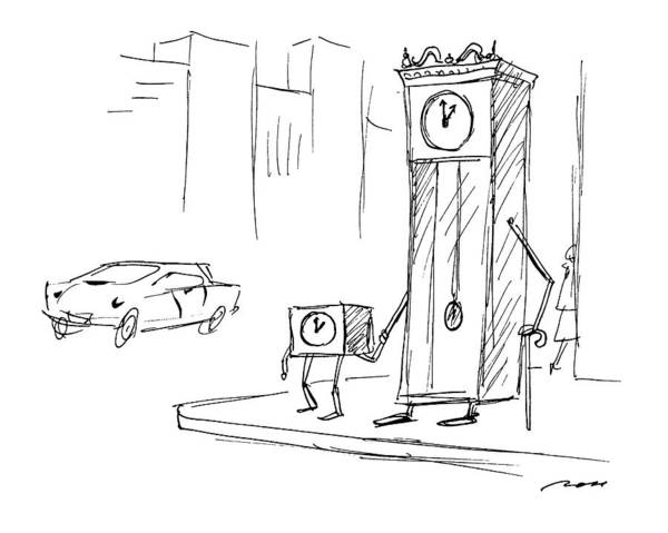 Clock Drawing - New Yorker April 13th, 1992 by Al Ross