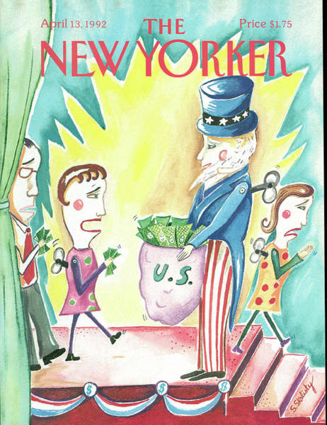 Uncle Sam Painting - New Yorker April 13th, 1992 by Stephanie Skalisky
