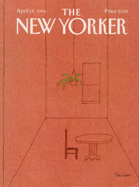 Table Painting - New Yorker April 14th, 1986 by Robert Tallon