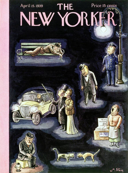 City At Night Painting - New Yorker April 15 1939 by William Steig