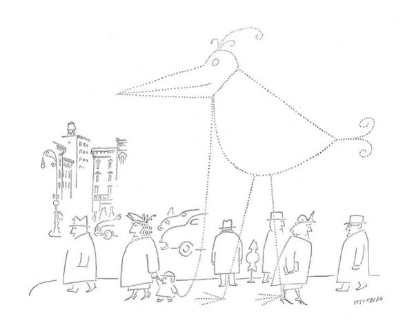 Imagination Drawing - New Yorker April 16th, 1955 by Saul Steinberg